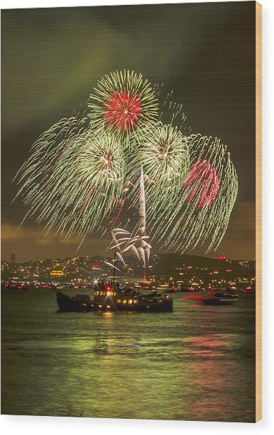 Golden Gate Bridge 75th Anniversary Fireworks 17 Wood Print