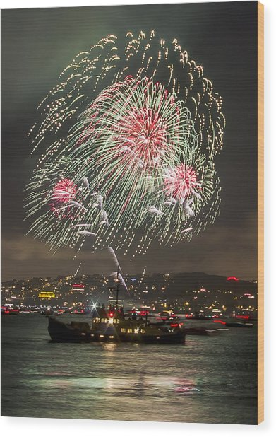 Golden Gate Bridge 75th Anniversary Fireworks 18 Wood Print