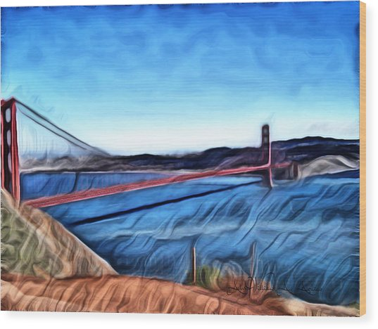 Windy Day At Golden Gate Bridge Wood Print