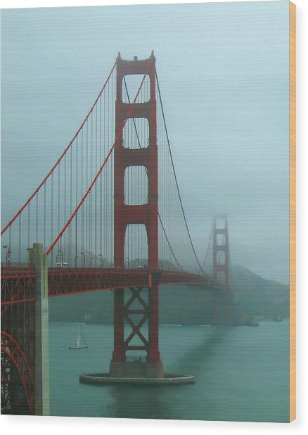 Golden Gate Bridge And Partial Arch In Color  Wood Print