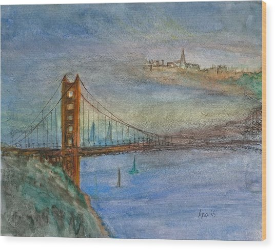 Golden Gate Bridge And Sailing Wood Print by Anais DelaVega