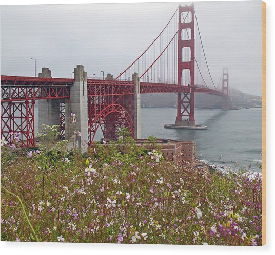 Golden Gate Bridge And Summer Flowers Wood Print