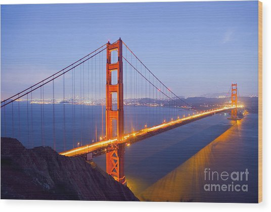 Golden Gate Bridge At Dusk Wood Print