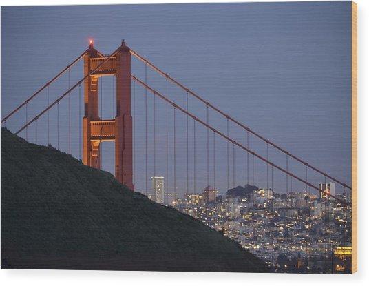 Golden Gate Bridge At Dusk Wood Print