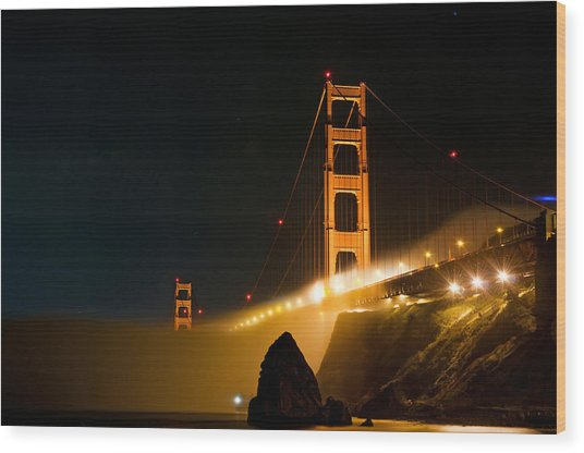 Golden Gate Bridge At Night In The Fog Wood Print