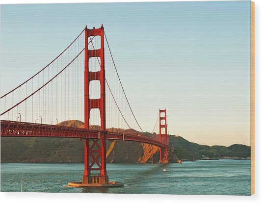Golden Gate Bridge At Sunset Wood Print