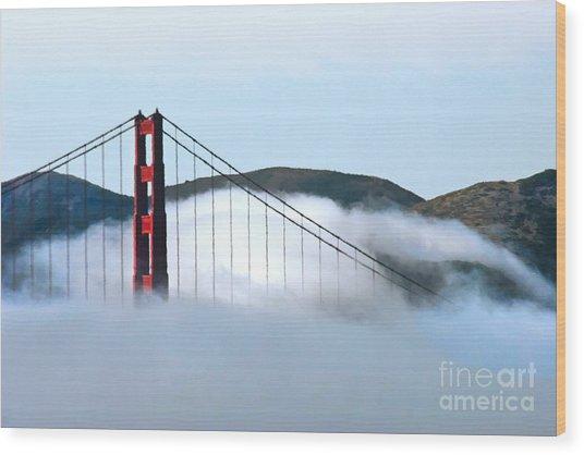 Golden Gate Bridge Clouds Wood Print
