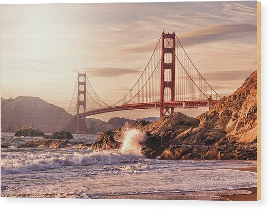 Golden Gate Bridge From Baker Beach Wood Print by Karsten May