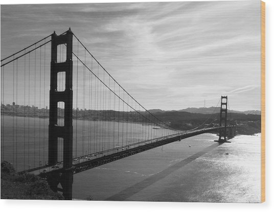 Golden Gate Bridge In Black And White Wood Print
