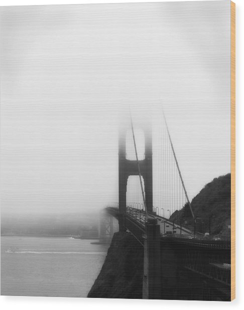 Golden Gate Bridge In Fog ... Sausalito Side Wood Print