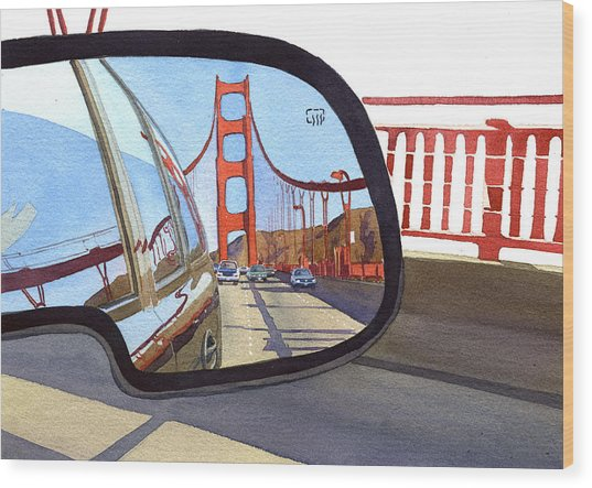 Golden Gate Bridge In Side View Mirror Wood Print