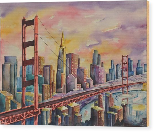 Golden Gate Bridge - San Francisco Wood Print by Joy Skinner