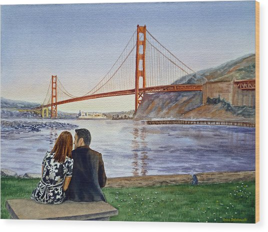 Golden Gate Bridge San Francisco - Two Love Birds Wood Print
