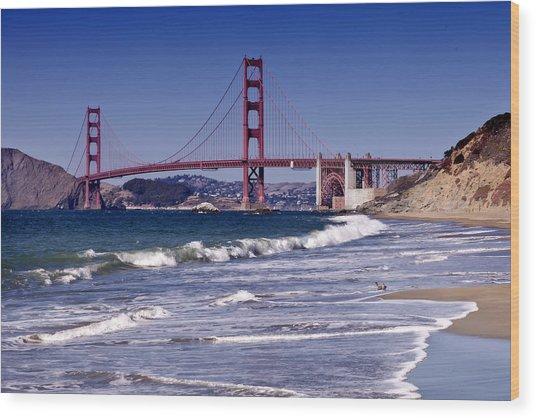 Golden Gate Bridge - Seen From Baker Beach Wood Print