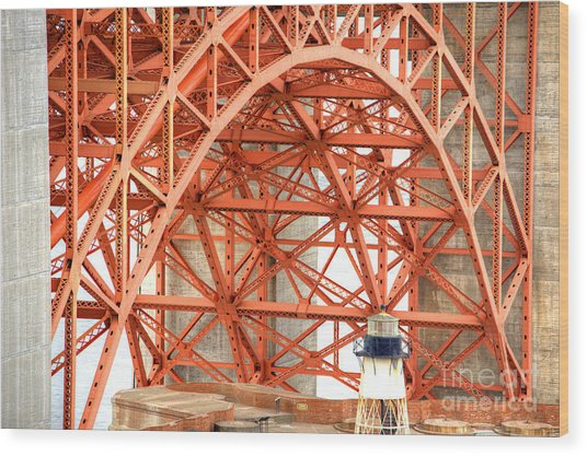 Golden Gate Bridge Supports Wood Print