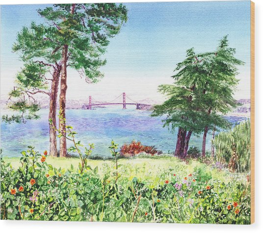 Golden Gate Bridge View From Lincoln Park San Francisco Wood Print