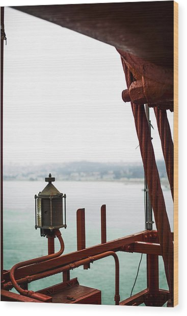 Golden Gate Lantern Wood Print by SFPhotoStore
