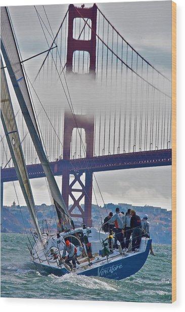 Golden Gate Sailing Wood Print by Steven Lapkin