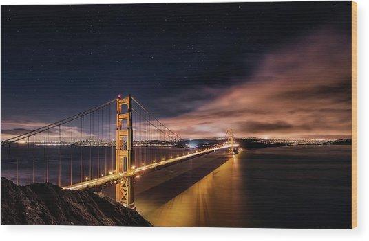 Golden Gate To Stars Wood Print by Javier De La