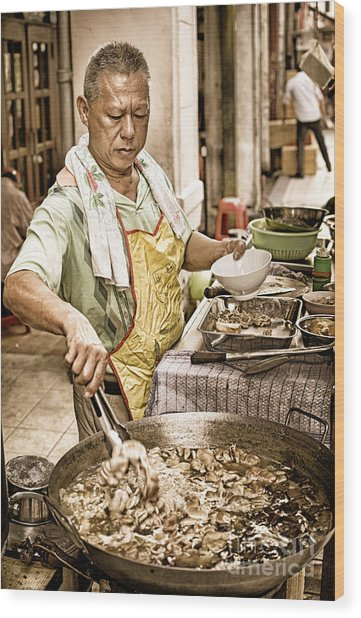 Golden Glow - South East Asian Street Vendor Cooking Food At His Stall Wood Print