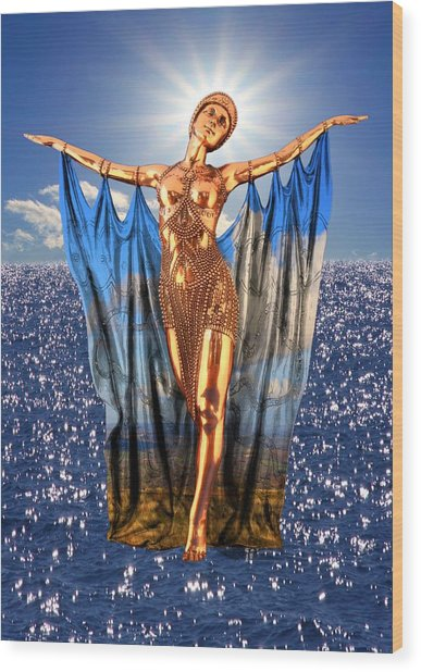 Golden Goddess Wood Print