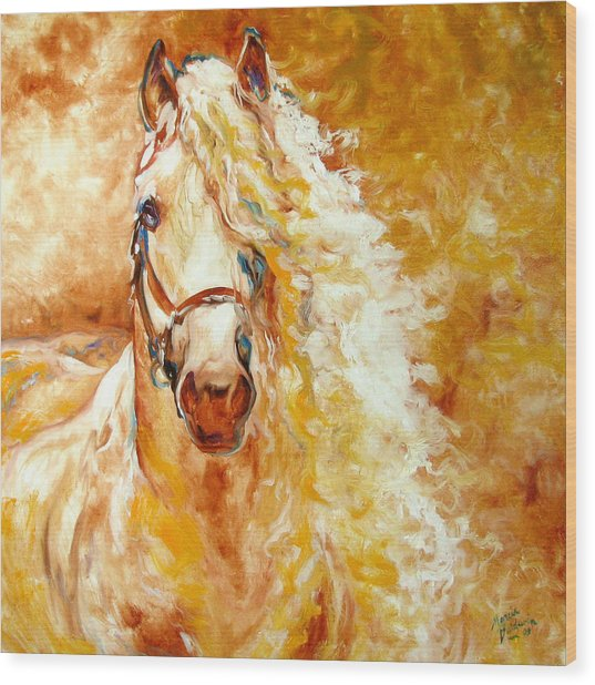 Golden Grace Equine Abstract Wood Print