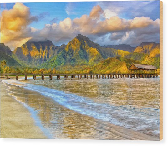 Golden Hanalei Morning Wood Print