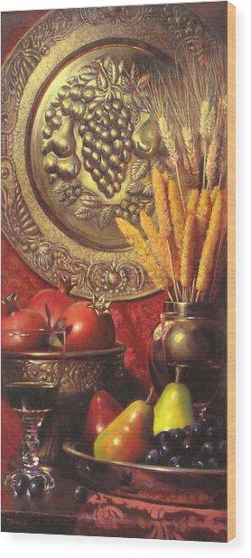 Golden Harvest With Red Wine Wood Print by Takayuki Harada