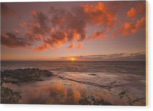 Golden Hawaii Sunset  Wood Print