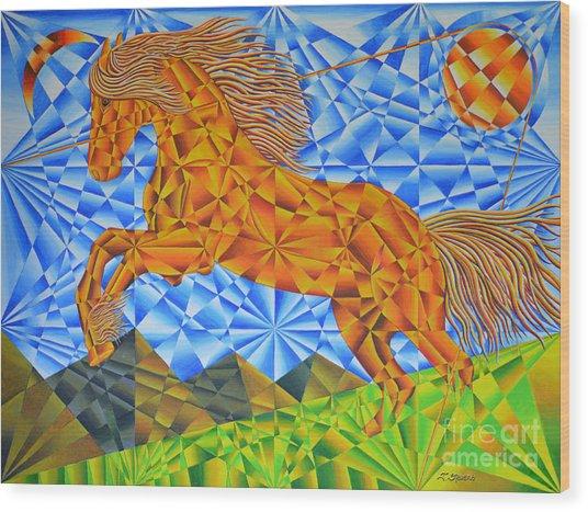 Golden Horse Over The Bitterroot's Wood Print