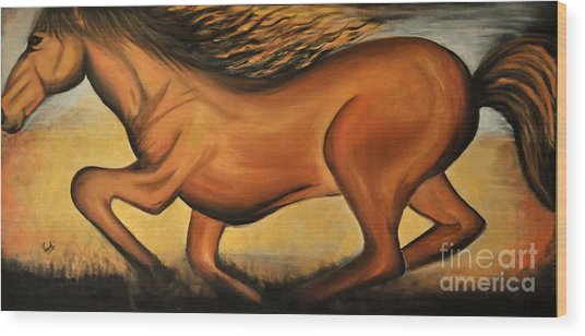 Golden Horse Wood Print