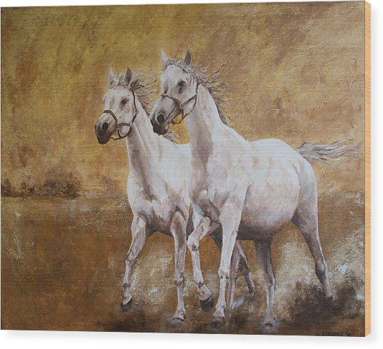 Golden Horses Wood Print by Willem Arendsz