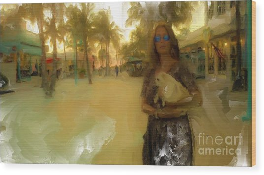 Golden Lady Wood Print by Rod Pena