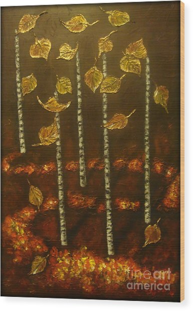 Golden Leaves 2 Wood Print