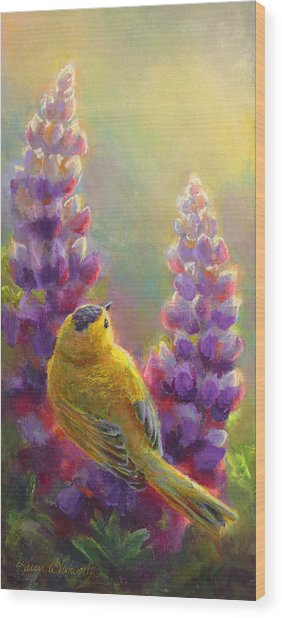 Golden Light 1 Wilsons Warbler And Lupine Wood Print
