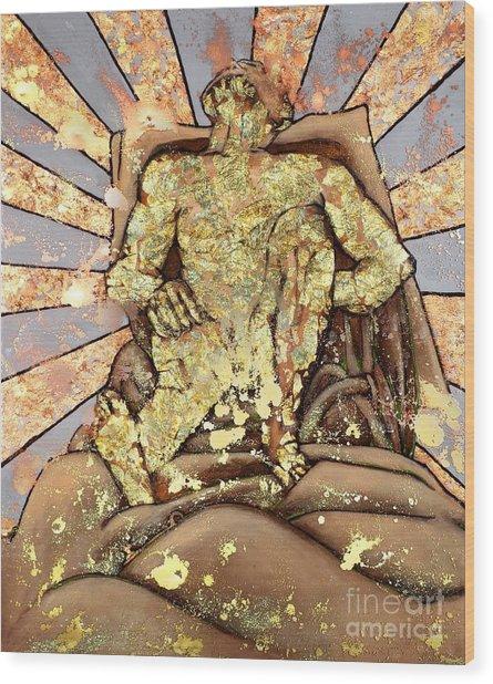 Golden Man On The Precipice Wood Print