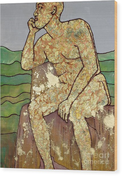 Golden Man Thinking Wood Print