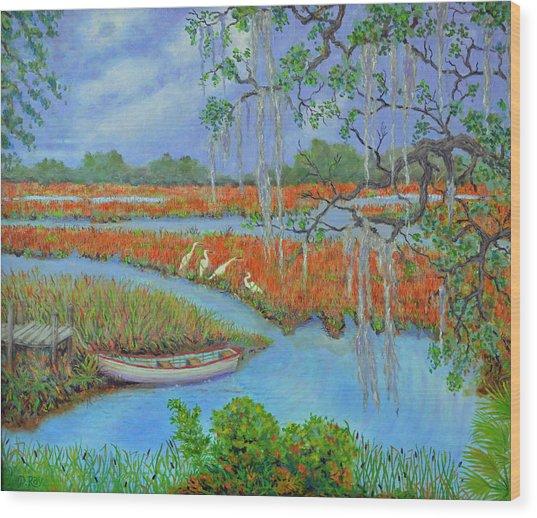 Golden Marsh 2 Wood Print