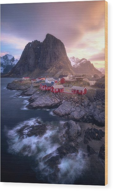 Golden Morning In Hamnoy Wood Print by Daniel F.