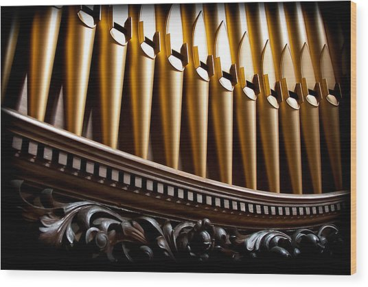 Golden Organ Pipes Wood Print