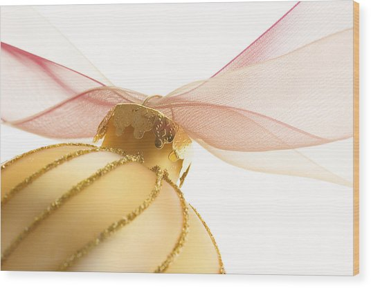 Golden Ornament With Red Ribbon High Key Wood Print