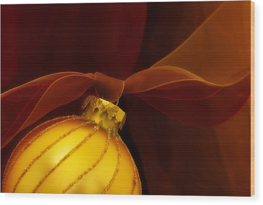 Golden Ornament With Red Ribbons Wood Print