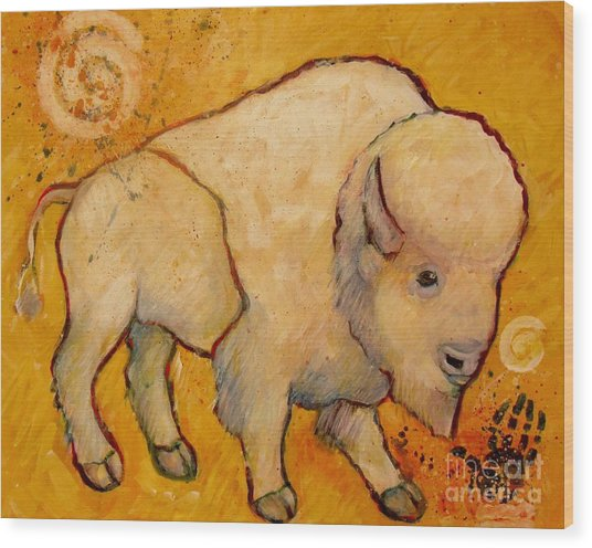 Golden Peace White Buffalo Wood Print