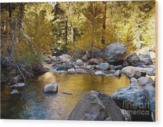Golden Pool On Roaring River  1-7797 Wood Print by Stephen Parker