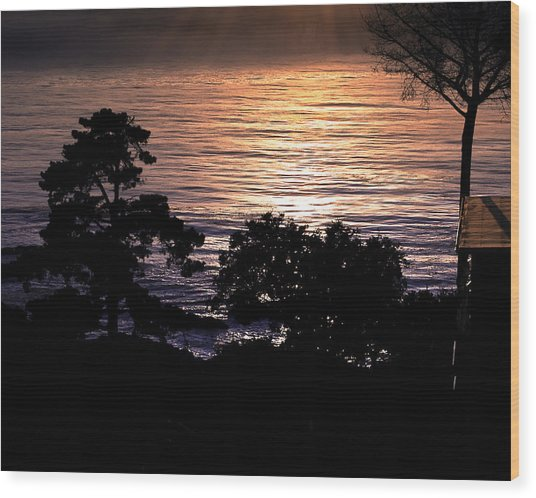 Golden Rays Of Sunset On The Water Wood Print