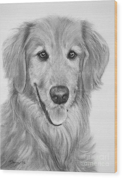 Golden Retriever Sketch Wood Print