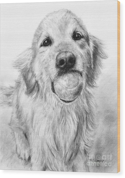 Golden Retriever With Ball Wood Print
