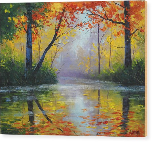 Golden River Wood Print