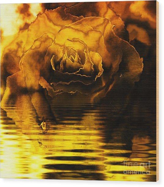 Golden Rose On The Lake Wood Print