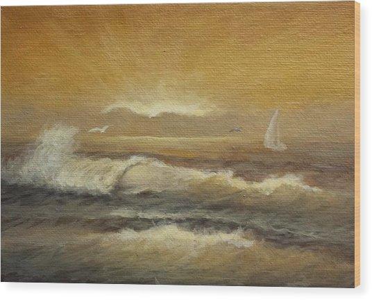 Golden Sail Wood Print